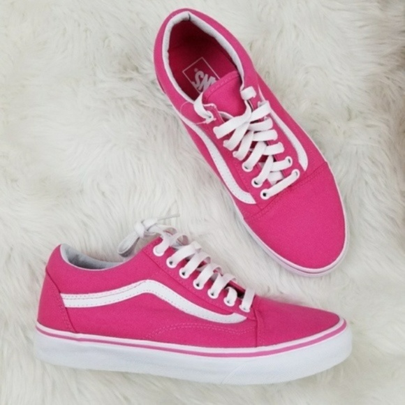 32166cc1eea9 Vans Old Skool Pink White Canvas Shoes W 9.5